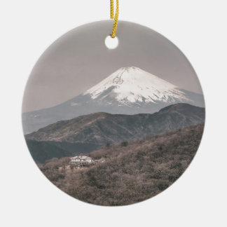 Mount Fuji, Japan Round Ceramic Decoration