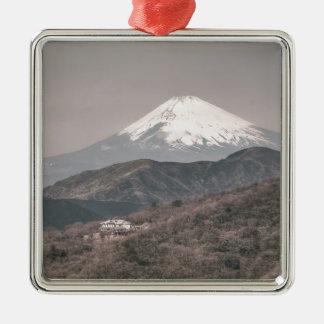 Mount Fuji, Japan Silver-Colored Square Decoration