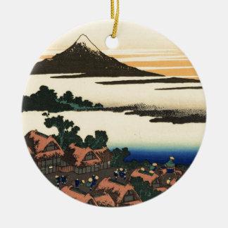 Mount Fuji Japan Sunset Round Ceramic Decoration