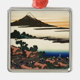 Mount Fuji Japan Sunset Silver-Colored Square Decoration