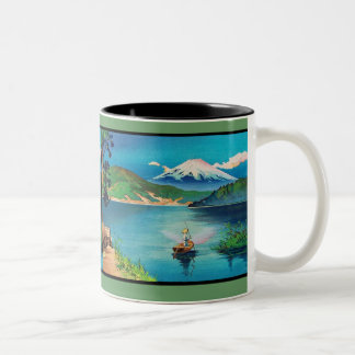 Mount Fuji Japanese Woodblock - Beautiful Two-Tone Coffee Mug