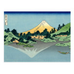 Mount Fuji reflects in Lake Kawaguchi (by Hokusai) Postcard