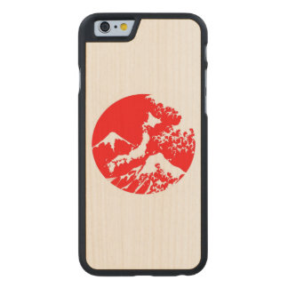 Mount Fuji Retro Case. Red Japanese Print Carved® Maple iPhone 6 Slim Case