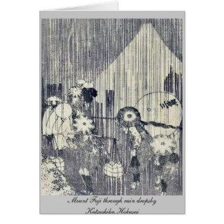 Mount Fuji through rain dropsby Katsushika,Hokusai Greeting Cards