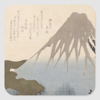 Mount Fuji Under the Snow Square Sticker