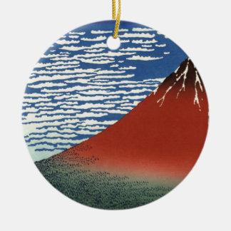 Mount Fuji Volcano Japan Painting Round Ceramic Decoration