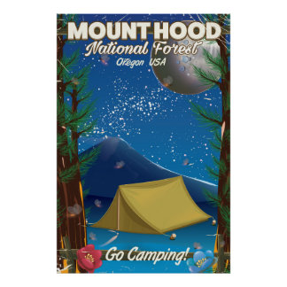 Mount Hood National Forest travel poster
