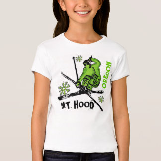 Mount Hood Oregon green skier theme girls tee