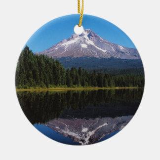 Mount Hood Reflected in Lake Round Ceramic Decoration