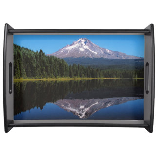 Mount Hood Reflected in Lake Serving Tray
