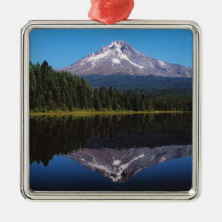 Mount Hood Reflected in Lake Silver-Colored Square Decoration
