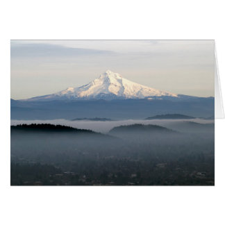 Mount Hood with Low Lying Fog Over Portland Oregon Greeting Card