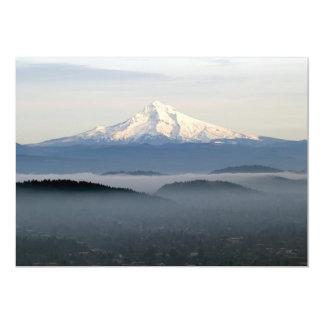 "Mount Hood with Low Lying Fog Over Portland Oregon 5"" X 7"" Invitation Card"