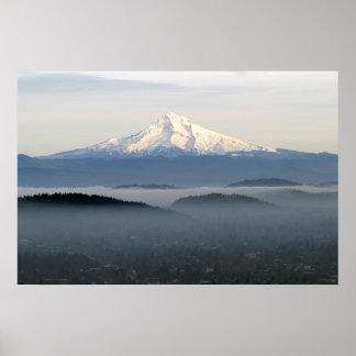 Mount Hood with Low Lying Fog Over Portland Oregon Print