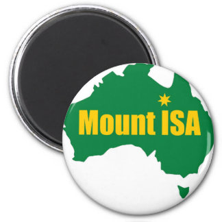 Mount Isa Green and Gold Map 6 Cm Round Magnet