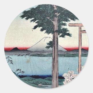 Mount Kano in Kazusa Province by Ando, Hiroshige Round Sticker