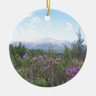 Mount Katahdin and Wildflowers Round Ceramic Decoration