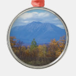 Mount Katahdin in fall 2 Silver-Colored Round Decoration