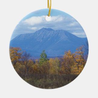 Mount Katahdin in fall 2 Round Ceramic Decoration