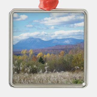Mount Katahdin in fall 3 Silver-Colored Square Decoration