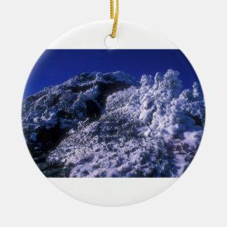 Mount Mansfield Summit Snow Round Ceramic Decoration