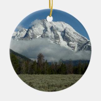 Mount Moran and Clouds at Grand Teton Round Ceramic Decoration