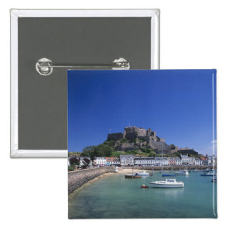 Mount Orgueil Castle and harbour, Gorey, Jersey 15 Cm Square Badge