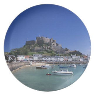 Mount Orgueil Castle and harbour, Gorey, Jersey Plate