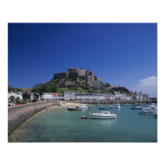 Mount Orgueil Castle and harbour, Gorey, Jersey Poster