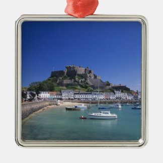 Mount Orgueil Castle and harbour, Gorey, Jersey Silver-Colored Square Decoration