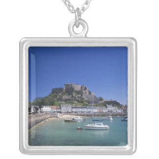 Mount Orgueil Castle and harbour, Gorey, Jersey Silver Plated Necklace