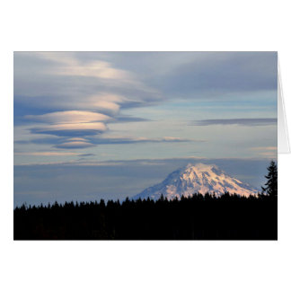Mount Rainer with Lenticular Clouds Greeting Card