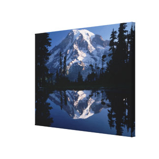 Mount Rainier and Blue Sky Perfectly Reflected Canvas Print
