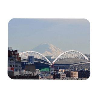 Mount Rainier from Seattle Rectangular Photo Magnet