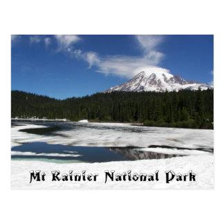 Mount Rainier Frozen Reflection Travel Photo Postcard