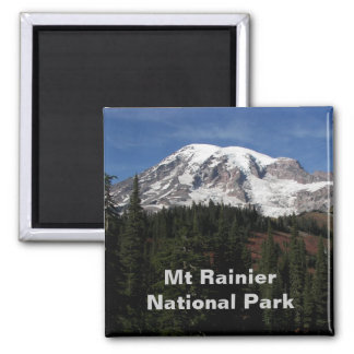 Mount Rainier National Park Travel Photo Square Magnet