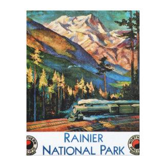 Mount Rainier National Park Vintage Train Gallery Wrapped Canvas