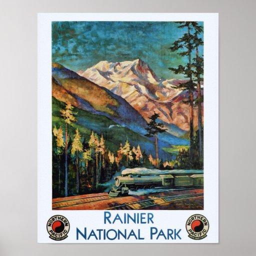 Mount Rainier National Park Vintage Train Poster