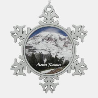 Mount Rainier Photo Snowflake Pewter Christmas Ornament