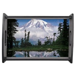 Mount Rainier relected in a mountain tarn Serving Tray