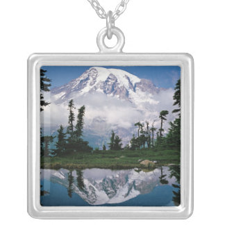 Mount Rainier relected in a mountain tarn Silver Plated Necklace