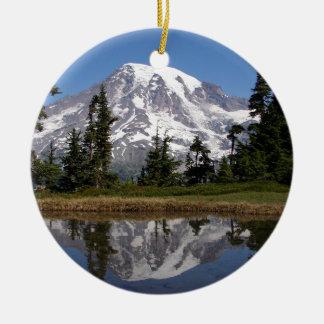 Mount Rainier Round Ceramic Decoration