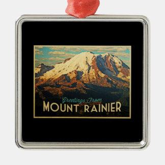 Mount Rainier Silver-Colored Square Decoration