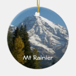Mount Rainier View Double-Sided Ceramic Round Christmas Ornament