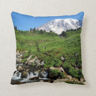 Mount Rainier, waterfall, snow-covered Cushion
