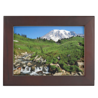 Mount Rainier, waterfall, snow-covered Keepsake Box