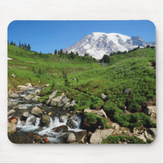 Mount Rainier, waterfall, snow-covered Mouse Pad