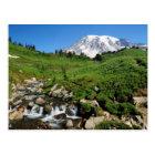 Mount Rainier, waterfall, snow-covered Postcard