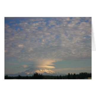 Mount Rainier with Lenticular and Cumulus Clouds Greeting Card