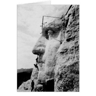Mount Rushmore Construction of George Washington Greeting Card